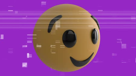 risonho : Animation of a winking emoji icon on a purple background with interference Vídeos
