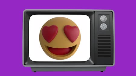 lol : Animation of a smilimg emoji icon with heart eyes appearing on the screen of a TV set on a purple background