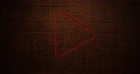 nyíl : Animation of a red arrow neon sign on brick wall 4k Stock mozgókép