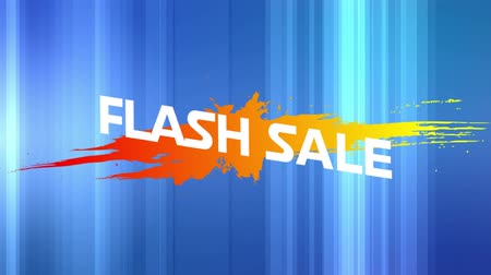 flash sale : Animation of the words Flash Sale in white letters on an orange to yellow paint splat and abstract shapes on a blue background Stock Footage