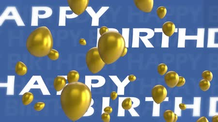 sobressalente : Animation of the moving words Happy Birthday written in white letters and gold balloons floating on a blue background