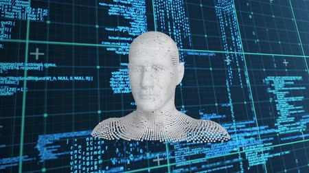 biust : Animation of moving human bust formed from grey particles and data processing on a dark blue background