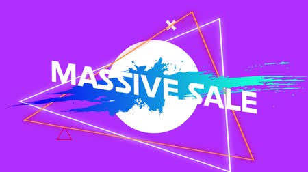azaltmak : Animation of the words Massive Sale in white letters with blue and orange geometric shapes and triangle outlines on a purple background Stok Video