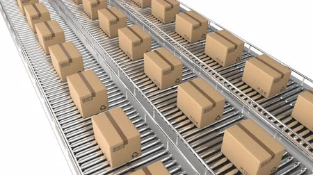 poczta : Animation of rows of cardboard boxes moving on conveyor belts Wideo