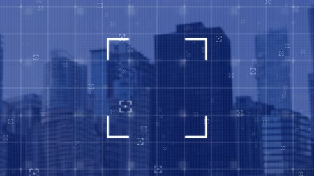 escopo : Animation of scope and grid with cityscape on a blue background
