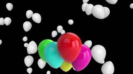 sobressalente : Animation of red, pink, blue, green, yellow and white balloons floating on a black background Stock Footage
