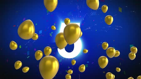 deset : Animation of countdown from 10 to 0 in white with gold balloons floating, confetti falling and fireworks on a blue background
