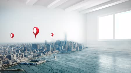 ikon : Animation of three red and white location pins over cityscape with an interior of a house in the foreground