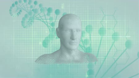 geny : Animation of moving human bust formed from grey particles and network connections with a DNA strand on grid and light green background