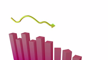 upward : Animation of a 3D pink block graph and a yellow arrow pointing upward on a white background Stock Footage