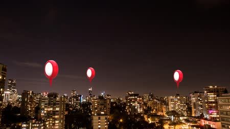 ポインタ : Animation of three red and white location pins over cityscape 動画素材