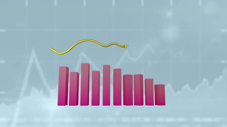 upward : Animation of a 3D pink block graph and a yellow arrow pointing upward with graphs drawn in the background