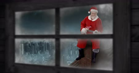 father christmas : Animation of Santa Claus playing guitar seen through a window 4k