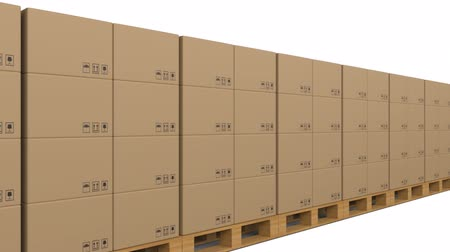 poczta : Animation of cardboard boxes stacked up in a shipping centre Wideo
