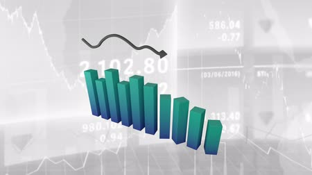chart : Animation of a 3D blue to green block graph and a black arrow pointing upward with charts drawn on a white background Stock Footage