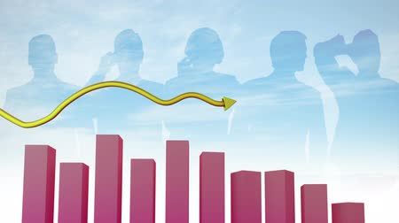 upward : Animation of a 3D pink block graph and a yellow arrow pointing upward with silhouetted people on a blue background Stock Footage