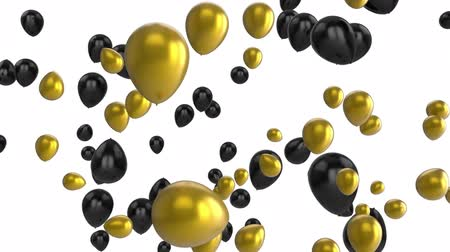 sobressalente : Animation of black and gold balloons floating on a white background Stock Footage