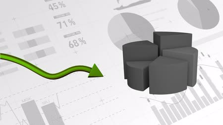 finanças : Animation of a 3D grey pie chart showing changing statistics and a green arrow pointing upward with data processing in the background Stock Footage