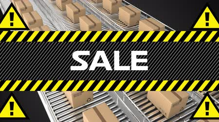 felkiáltás : Animation of the word Sale in white letters on a banner with black and yellow stripes and yellow warnings sings with exclamation marks and cardboard boxes moving on conveyor belts