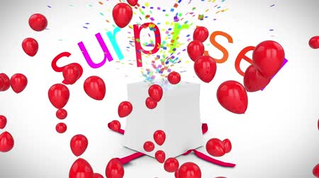 doğum günü : Animation of present opening with the word Surprise in red and pink letters and colourful confetti flying out, red balloons floating on a white background Stok Video