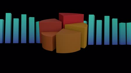 pie chart : Animation of a 3D blue block chart and orange to yellow pie chart showing changing statistics on a black background