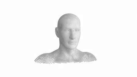 бюст : Animation of moving human bust formed from grey particles on a white background