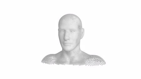 busto : Animation of moving human bust formed from grey particles on a white background