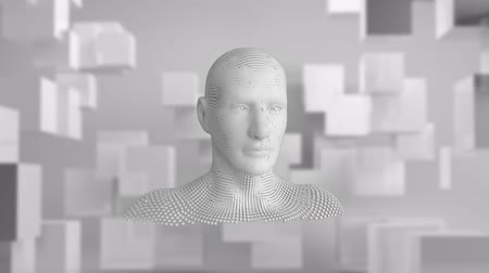 бюст : Animation of moving human bust formed from grey particles on a grey background