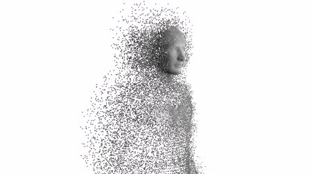 genen : Animation of human body formed from grey particles on a white background