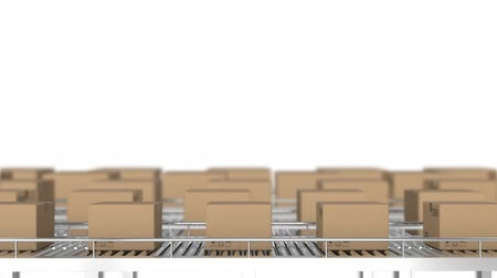 pasek : Animation of rows of cardboard boxes moving on conveyor belts Wideo
