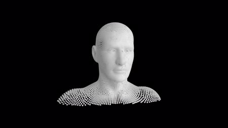geny : Animation of moving human bust formed from grey particles on a black background