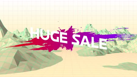 terms : Animation of the words Huge Sale in white letters on an pink to purple paint splat and abstract shapes with mountains in the background Stock Footage