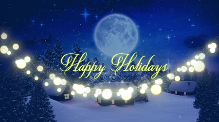 blue color : Animation of the words Happy Holidays written in yellow letters with string of glowing fairy lights with silhouette of Santa Claus in sleigh pulled by reindeers in the countryside