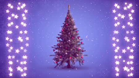 christmas spirit : Animation of a rotating Christmas tree and strings of glowing star shaped fairy lights on a purple background