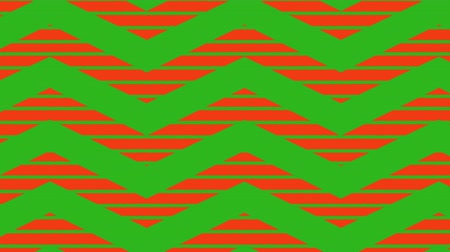 cikcak : Animation of green zig zag Christmas pattern with red and green moving stripes in the background