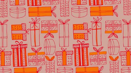 wrapping paper : Animation of Christmas pattern with gifts, in red and orange