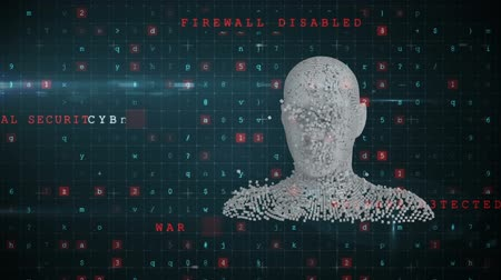 бюст : Animation of moving human bust formed from grey particles with virus warning and data processing in the foreground Стоковые видеозаписи