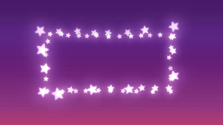 négyszögletes : Animation of a rectangular frame of glowing star shaped fairy lights on a purple background