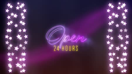 afbouw : Animation of the words Open 24 hours neon sign in purple and yellow flickering letters with strings of glowing star shaped fairy lights on purple background