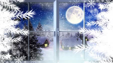 reno : Animation of the words Merry Christmas in blue letters with silhouette of Santa Claus in sleigh pulled by reindeers in the countryside seen through the window