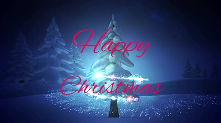 seasons changing : Animation of the words Happy Christmas in red letters with Christmas tree and shooting star on a dark blue background