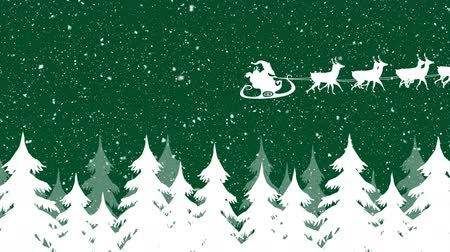 sob : Animation of a white silhouette of Santa Claus in sleigh being pulled by reindeers on a green background with snow falling and trees