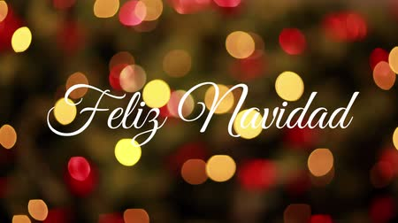 changing lights : Animation of the words Feliz Navidad written in white over flickering lights in the background Stock Footage