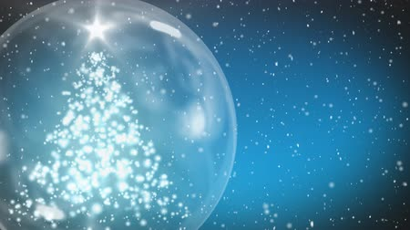 snow globe : Animation of a moving snow covered Christmas tree and a glowing star in a snow globe, snow falling in a dusk night sky in the background