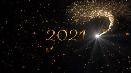 changing lights : Animation of number 2021 written in gold over glowing moving lights and shooting star on black background Stock Footage