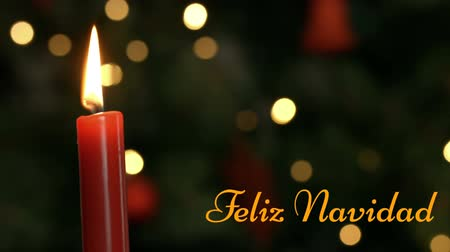Навидад : Animation of the words Feliz Navidad written in orange with lit candle and flickering lights in the background Стоковые видеозаписи