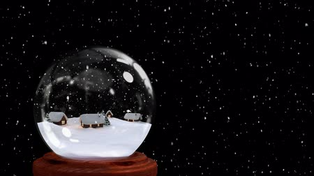 seasons changing : Animation of a winter scene with snow covered cottages and a Christmas tree in a snow globe, with a night sky and falling snow in the background Stock Footage