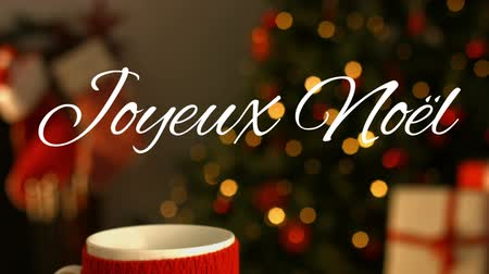 changing lights : Animation of the words Joyeux Noᅢᆱl written in white with mug and plate of cookies with Christmas tree in the background