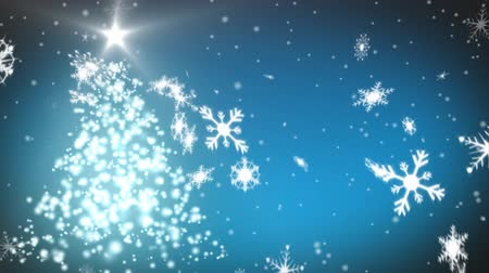 changing lights : Animation of snowflakes and rotating Christmas tree on blue background Stock Footage