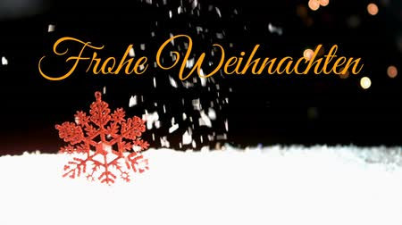 changing lights : Animation of the words Frohe Weihnachten written in orange over snow falling in the background